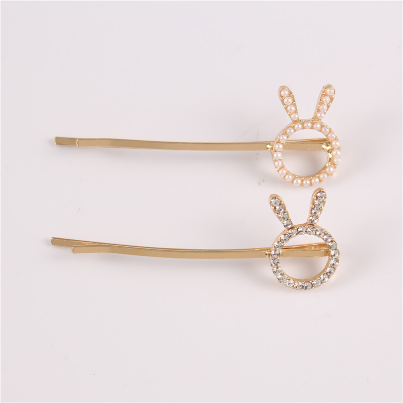 Promotional Fashion Rhinestone Beautiful Girl Cute Rabbit Ear Bobby Pins
