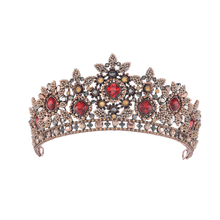 Vintage Wedding Bridal Glorious Red Rhinestone Princess Tiara Crown