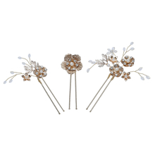 Top Fashion Gold Leaf Wedding Bridal Dress Flower Tiara Hair Pins