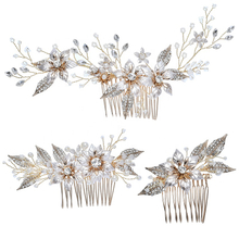 Luxury Rhinestone Handmade Luxury Wedding Bride Floral Hair Comb