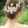 Handmade Luxury Crystals Fancy Silver Leaf Barrettes Bridal Accessories Headpiece Wedding Women Hair Clips