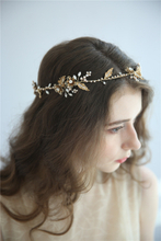 Retro Gold Floral Pearl Crystal Bridal Accessories Hair Jewelry Headpiece