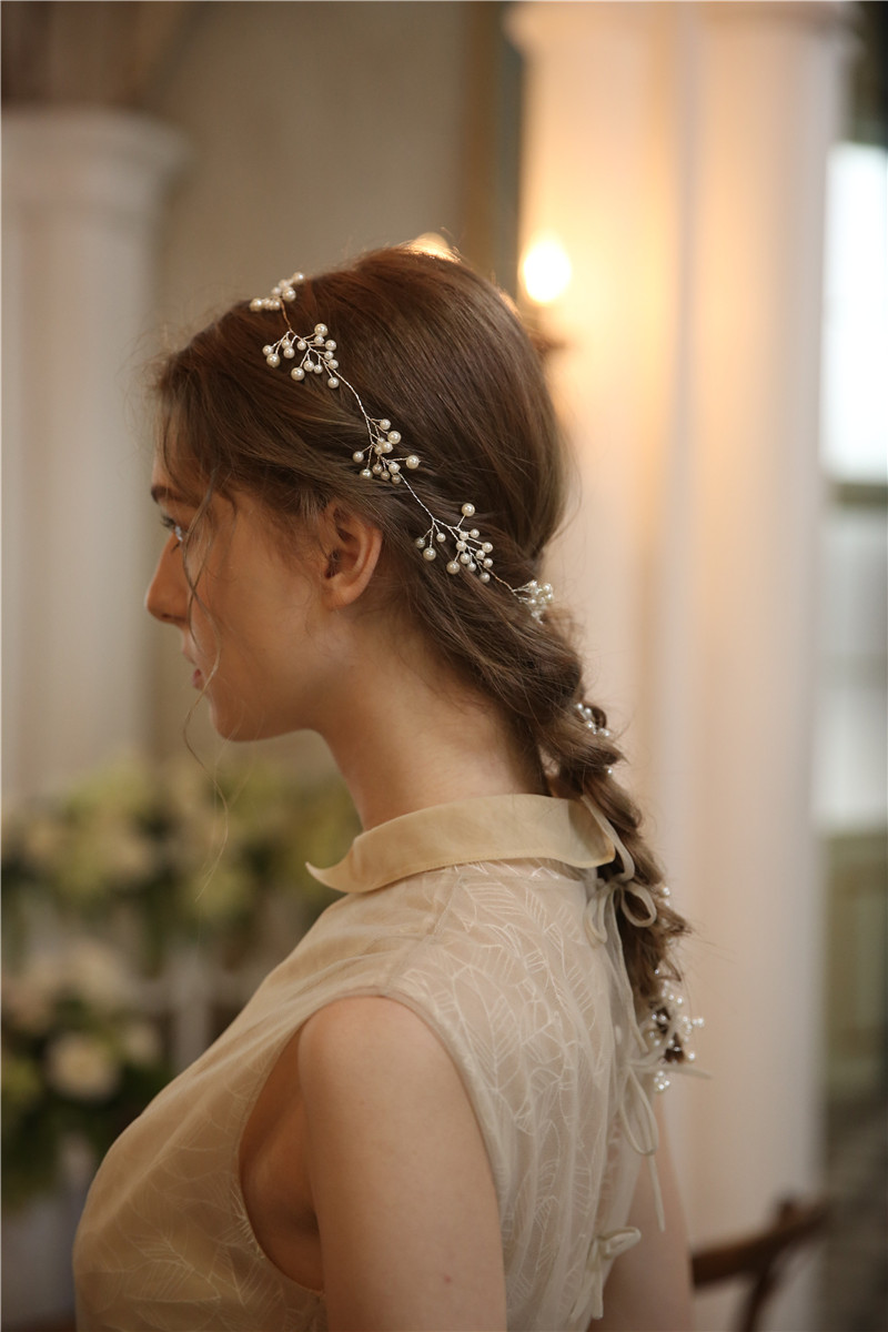 Hair Jewelry Handmade Silver Pearl Long Hair Floral Headpiece
