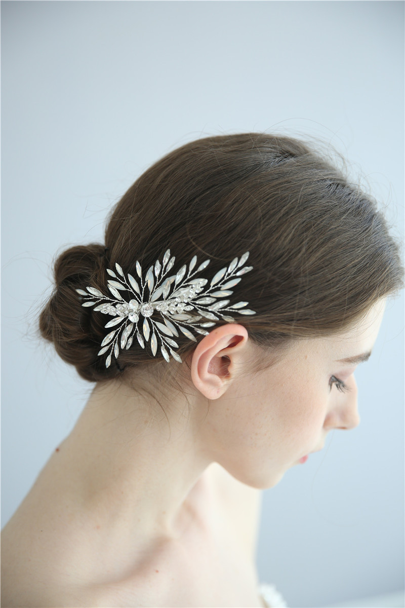 Shiny Crystal Bridal Headpiece Barrettes Accessories Handmade Hair Clips