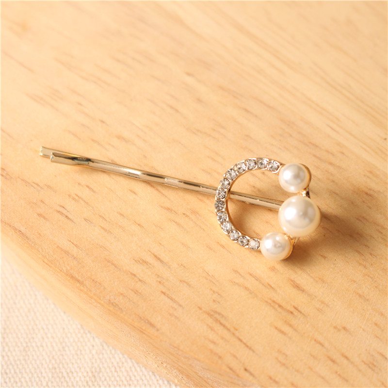 Hot Sale Profession Unique Design Metal Alloy Pearls Hair Pin Rhinestone Hair Clips