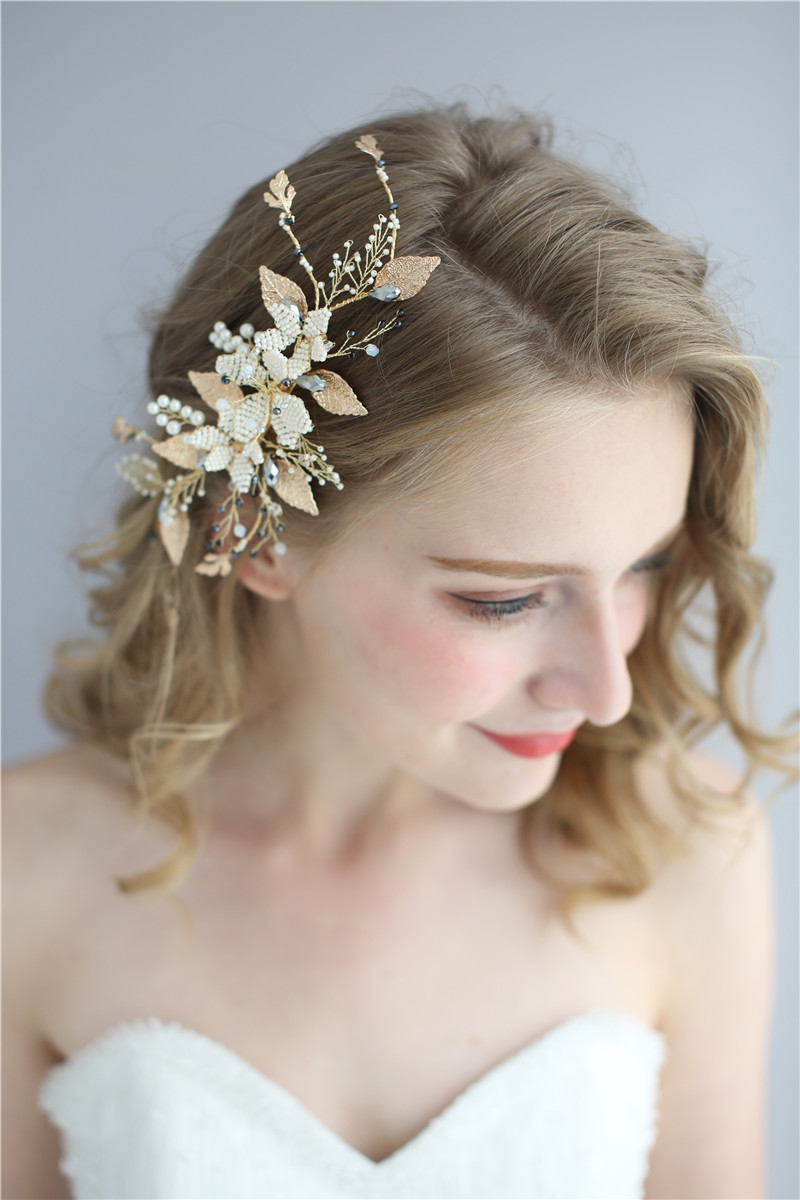 Bridal Pearl Headpiece Hair Accessories Beaded Flower Wedding Women Gold Leaves Hair Clips