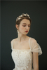 Women Jewelry Tiara Porcelain Flower Crystal Wedding Bride Crown Earring Set