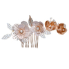 Gold Leaf Flower Hairband Bridal Crystal Wedding Hair Accessories Hair Clips Comb