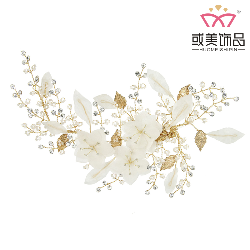 Handmade Gold Leaf Floral Charm Hair Jewelry Accessories Crystal Silk Fancy Hair Clips For Women
