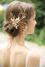 Handmade Gold Leaf Crystal Hair Accessories Jewelry Bride Headband Earring Freshwater Pearl Wedding Hair Clip For women