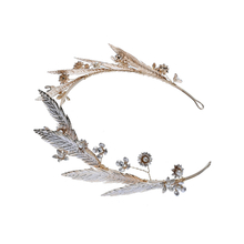 Luxury Vintage Alloy Leaf Hair Accessories Wedding Crystal Bridal Tiara