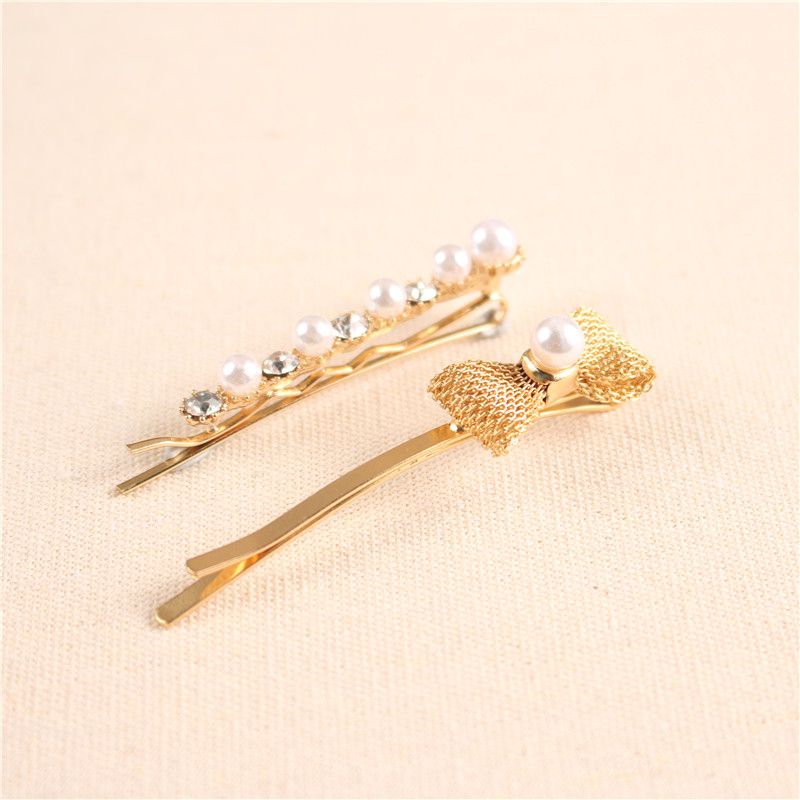 Top Selling Women Hair Accessories Gold Bowknot Bobby Pins Pearl Hair Clip Sets