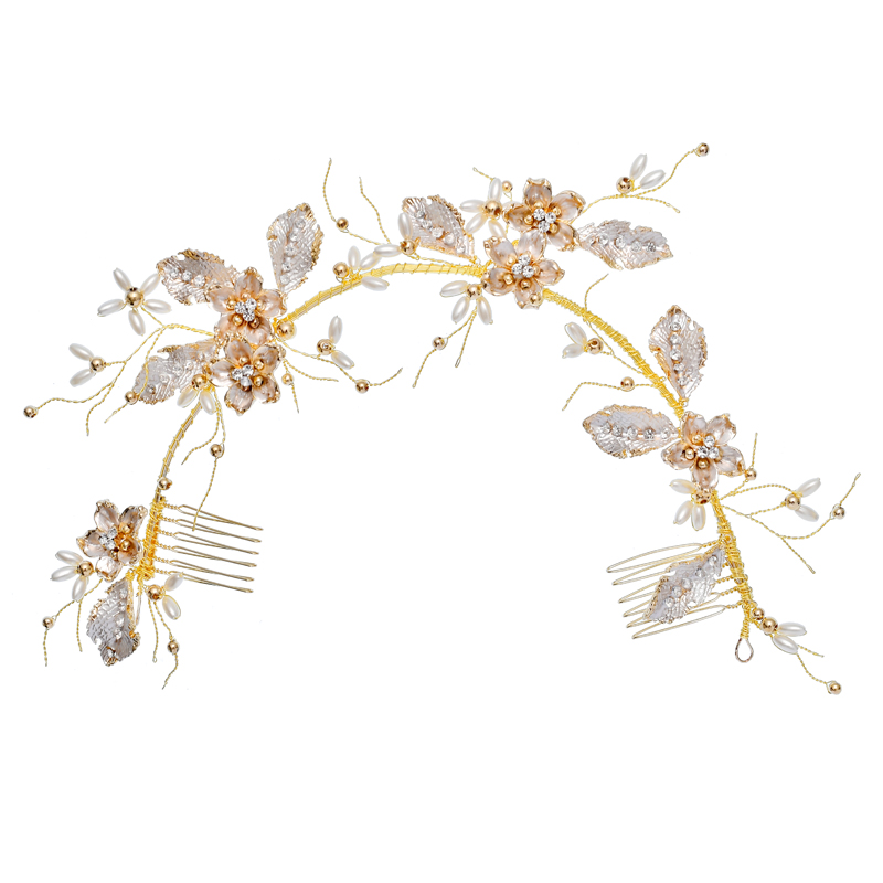 Gold Leaf Side Comb Bridal Jewelry Crystal Fancy Headband Wedding Women Hair Combs
