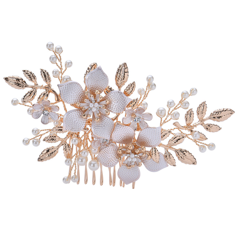 Luxury Bride Handmade Gold Hair Jewelry Accessories Crystal Bridal Wedding Pearl Hair Comb