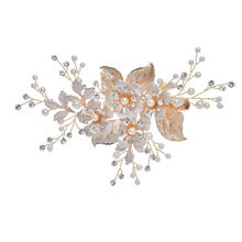 Handmade Gold Leaf Crystal Flower Headpiece Women Hair Clips