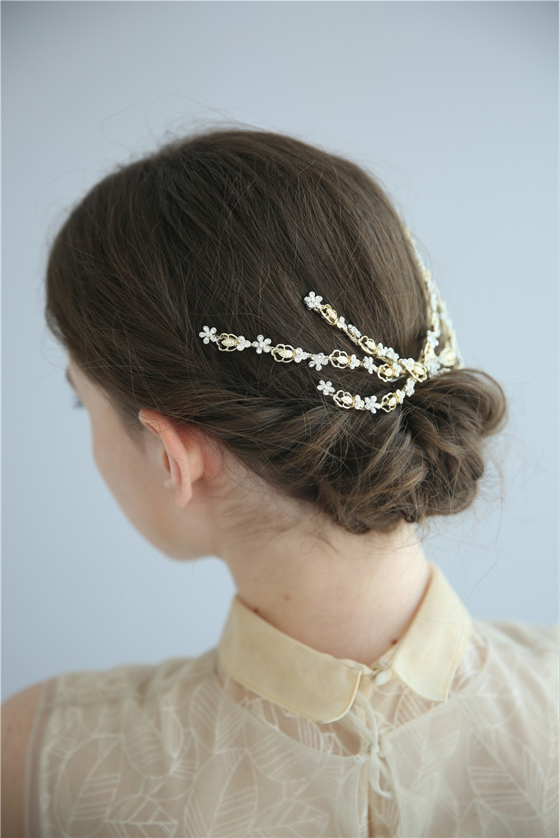 Crystal Gold Flower Barrettes Bridal Accessories Floral Wedding Hair Clips