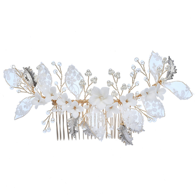 Fashion Wedding Lace Flower Pearl Bridal Headdress Hairbands Hair Comb