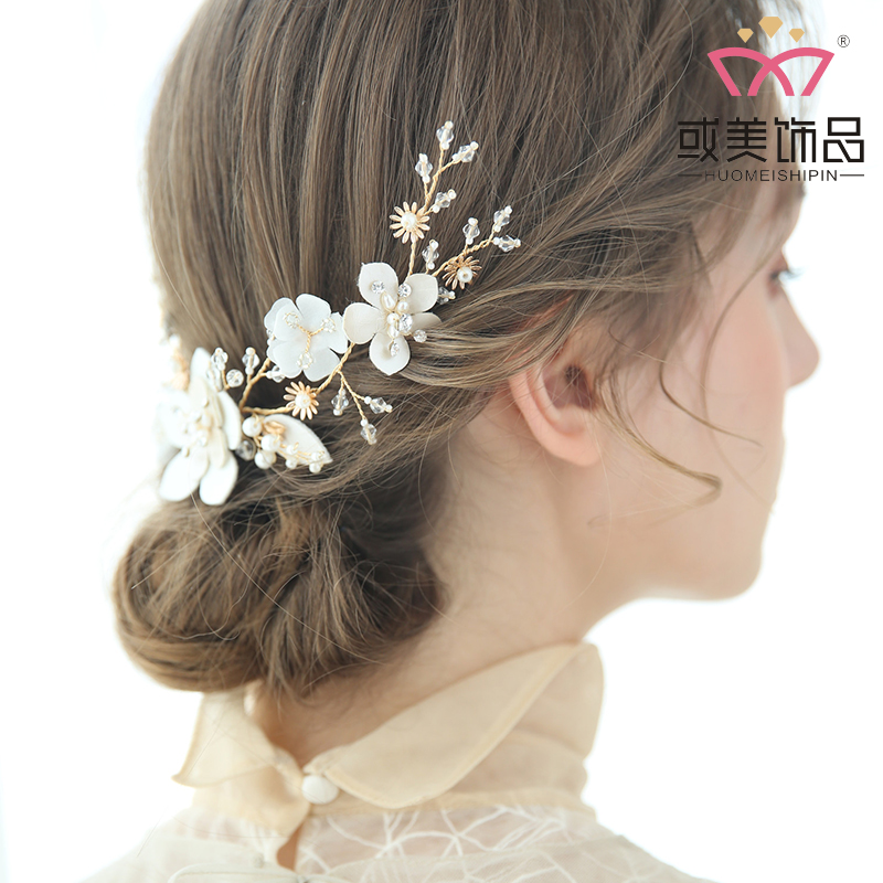 Fashion Gold Leaf Pearls Leather Floral Hairband Handmade Wedding Hair Comb For Women