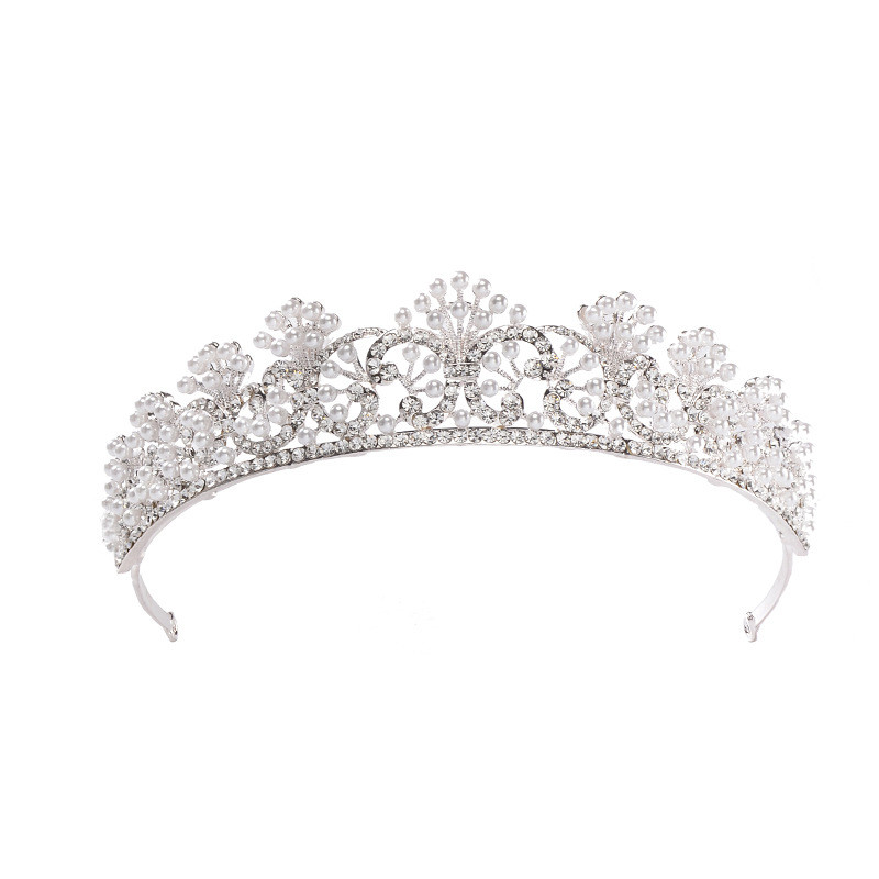 Elegant Queen Hair Crystal Flower Bridal Wedding Jewelry Set Crown