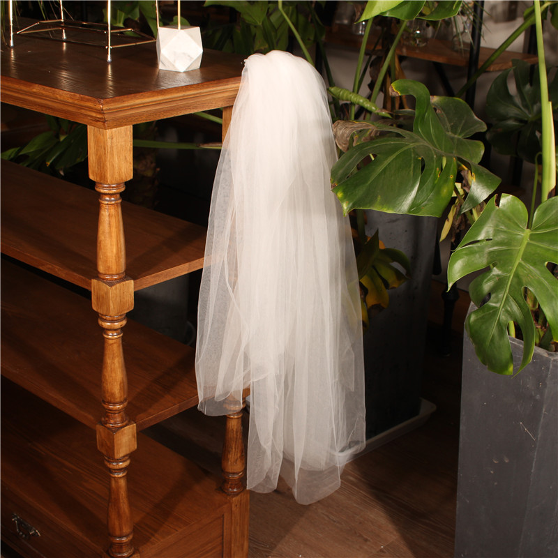 New Simple Design White Short Veils Bride Three Layer Hair Combs Wedding Veils