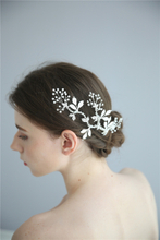 Silver Leaf Bridal Hair Accessories Headpiece Handmade Crystal Hair Clips