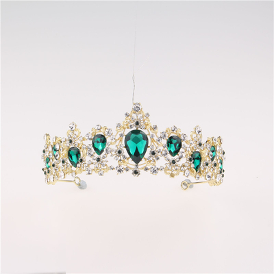China Hair Accessories Green Rhinestone Women Wedding Tiara Crown