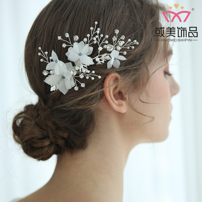 Fashion Bridal White Silk Flower Headdress Jewelry Accessories Wedding Headwear Pearl Crystal Hair Comb For Women