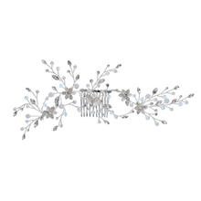 Crystal Silver Bridal Hair Accessories Flower Fancy Wedding Headdress Side Hair Combs For Thik Hair