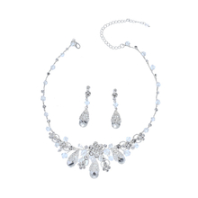 Waterdrop Shape Necklace Earring Wedding Bridal Crystal Silver Jewelry Set