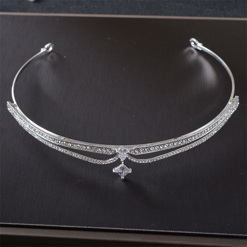 Wedding Free Gift Silver Crystal Rhinestone Wedding Bride Crown