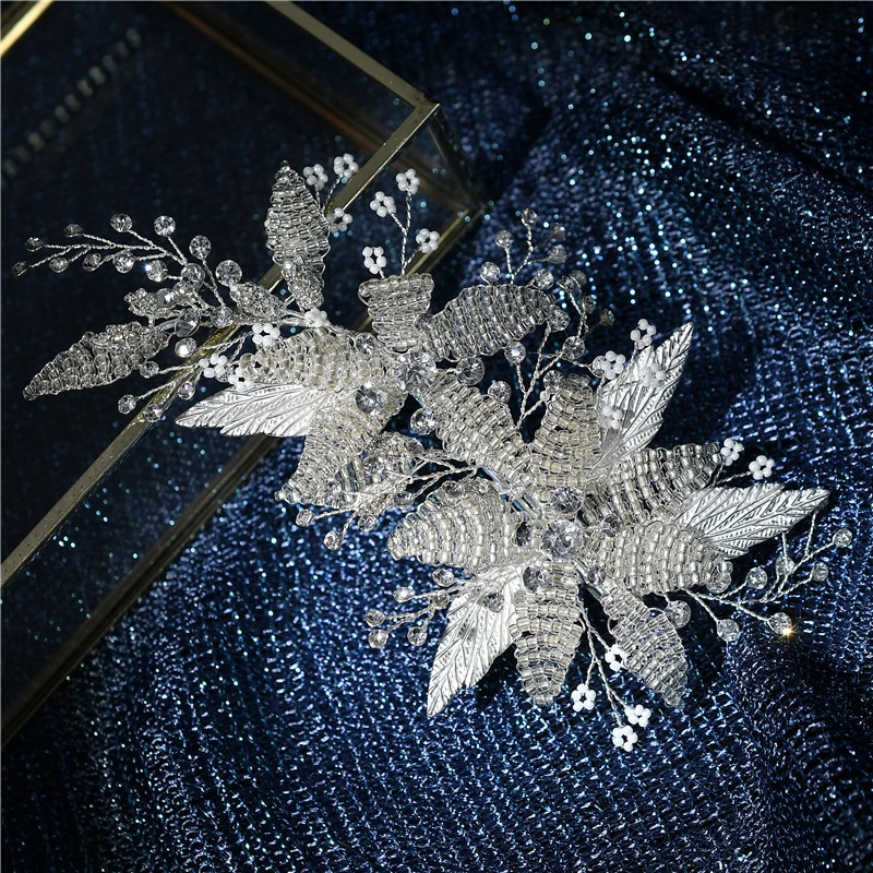 Fashion Elegant Handmade Iron Beads Leaves Rhinestone Hair Clip