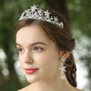 Gorgeous Silver Rhinestone Star Celestial Inspired Bridal Headpiece Jewelry Set Wedding Crown Earrings