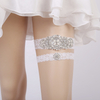Luxurious Crystal Rhinestone Pearl Decorated Wedding Garter Blue Lace Flowers Garters