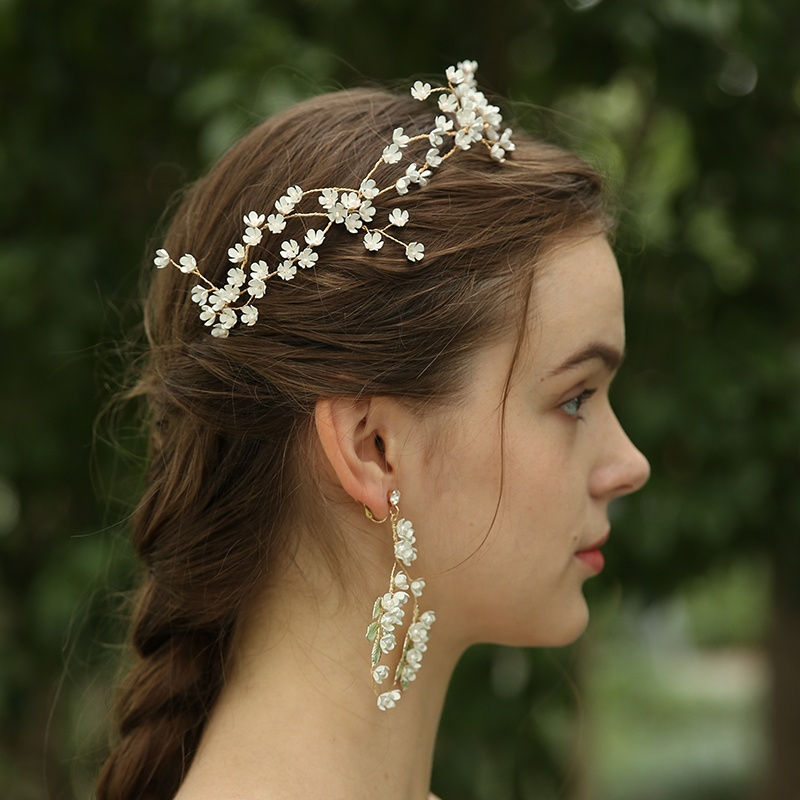 Handmade White Flower Wedding Bridal Hairband Crystal Hairpiece