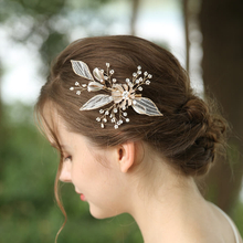 Custom Beads Lace leaves Hairclip Wedding Headdress For Women