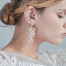 Wedding Luxury Crystal Beads Statement Earring Handmade Party Bridal Shell Clip On Earrings