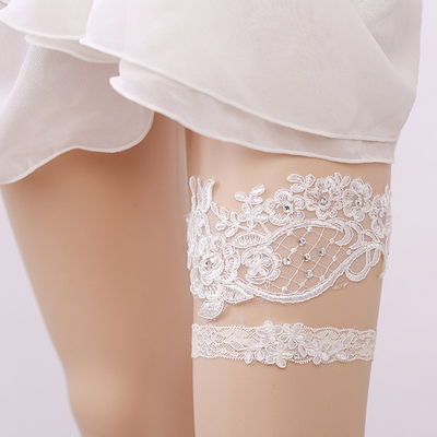 Sexy Rhinestone Lace Floral Leg Ring White Garters Bridal Leg Garters For Women