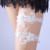 Sexy Elastic Pearl White Lace Applique Floral Wedding Garters