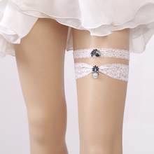 Sexy Elastic Lace Applique Wedding Girls Garter Belt With Rhinestone