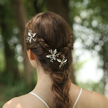 Newest Crystal Rhinestone Leaf Design Jewelry Bridal Hairpin