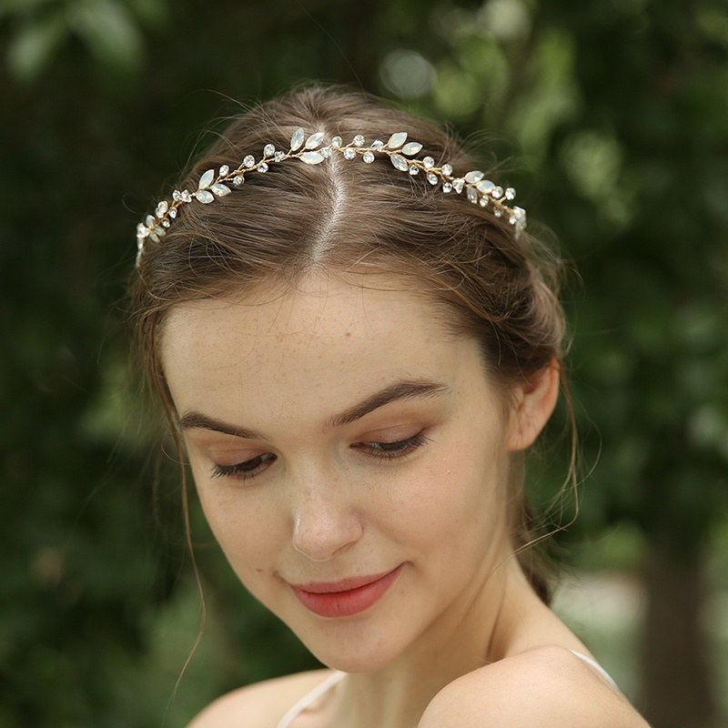 Handmade Gold Tiaras Rhinestones Crystal Leaf Bridal Headpiece