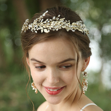 Customized Rhinestone Leaves Hair Band Ceramic Flower Earrings Wedding Accessories Set
