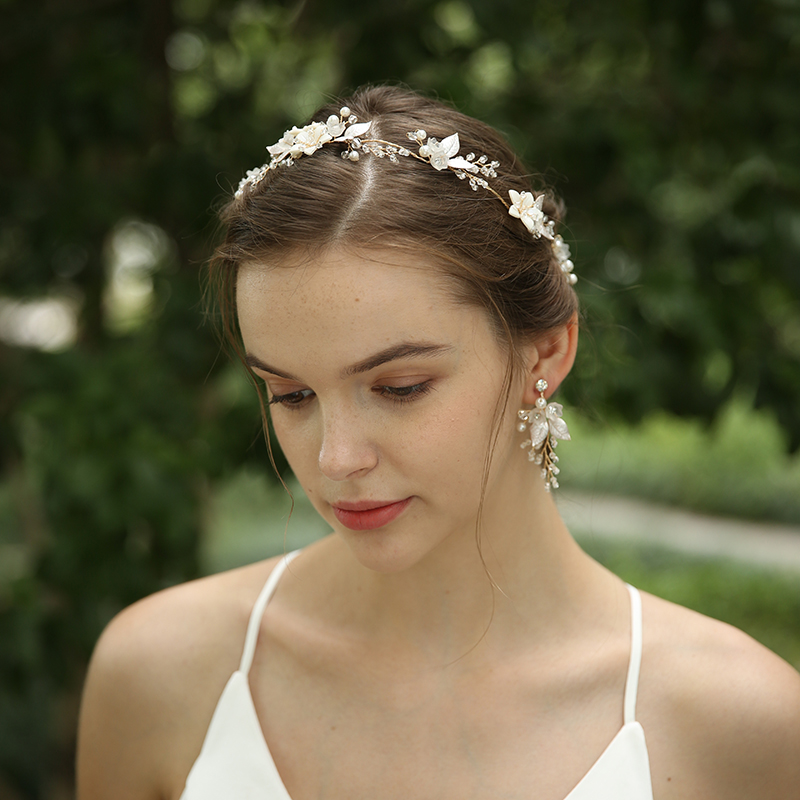 Fairy Flower Leaves Wedding Hairband Earrings Jewelry Set With Pearl Rhinestone Decorated