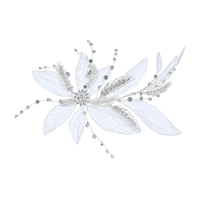 Handmade Leaves Design Lace Hair Clip Hair Jewelry Rhinestone Headpieces For Women