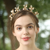 Handmade Whit Ceramic Flower Headpiece Jewelry Wedding Bridal Crystal Tiara Crown