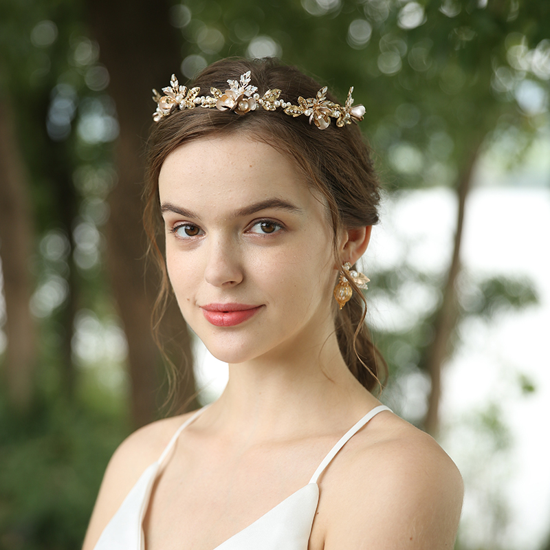 High Quality Gold Tone Leaves Peal Wedding Headband Headpiece And Earrings Jewelry Sets G4218 (5)