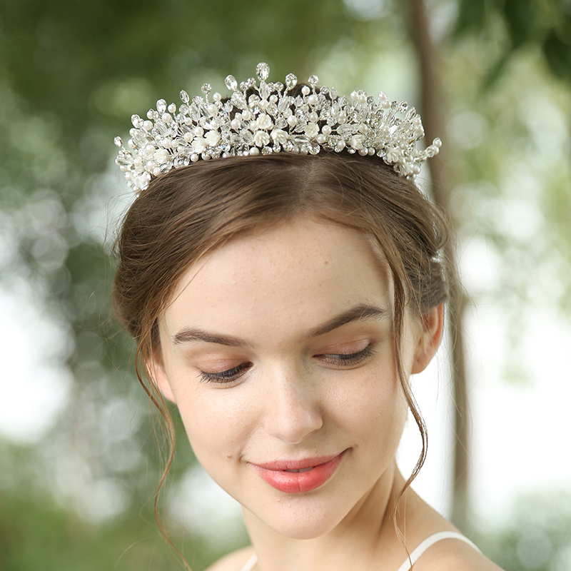 Elegant Handmade Wedding Crystal Crown Jewelry Headdress Bridal Tiara For Women