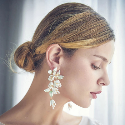 Handmade Bridal Leaves Flower Clip Earrings Wedding Statement Earrings