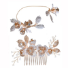 Handmade KC Gold Rhinestone Flower Leaves Wedding Bridal Hair Comb