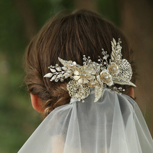 Fashion Iron Hollowed Flower Leaves Crystal Hair Clip